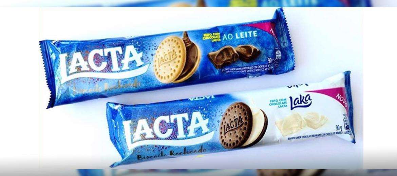 Lacta lança biscoitos recheados Chocolate ao Leite e Laka