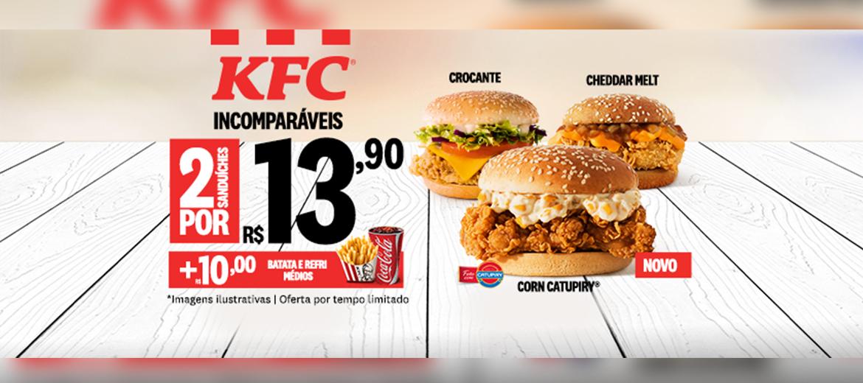 KFC vai pra cima dos concorrentes com 2 sanduíches por R$13,90